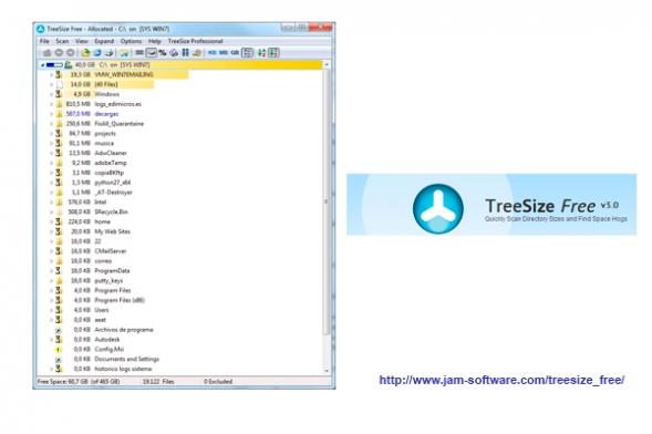 treesize herramienta gratuita para la monitorizacion del espacio en disco